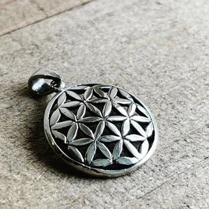 Silver Flower of Life Pendant for Necklace